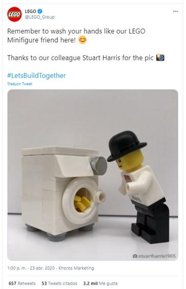 Tuit de Lego con recomendaciones sanitarias a propósito de la COVID.